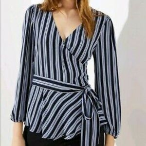 NWT Striped wrap blouse